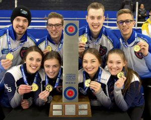 Shawinigan PQ,January 21, 2018.New Holland Canadian Junior Curling Championship.Team B.C. and Team Nova Scotia. Curling Canada/ michael burns photo