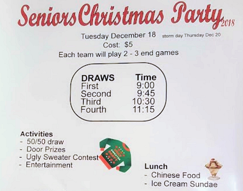 Seniors/Daytime Curlers Christmas party – Teams/Schedule