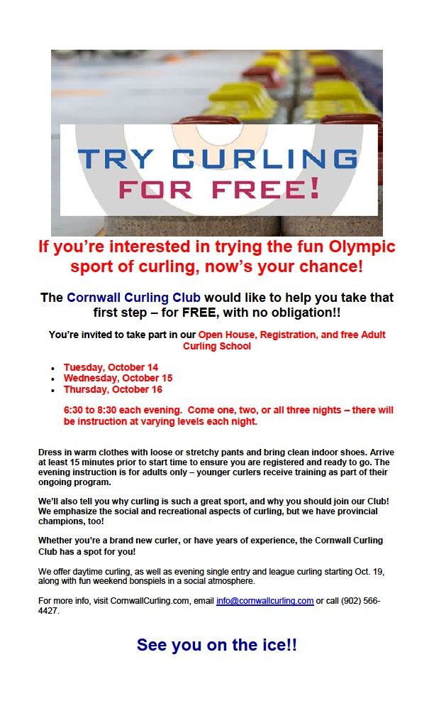 Last night of free curling instruction – don't miss out!