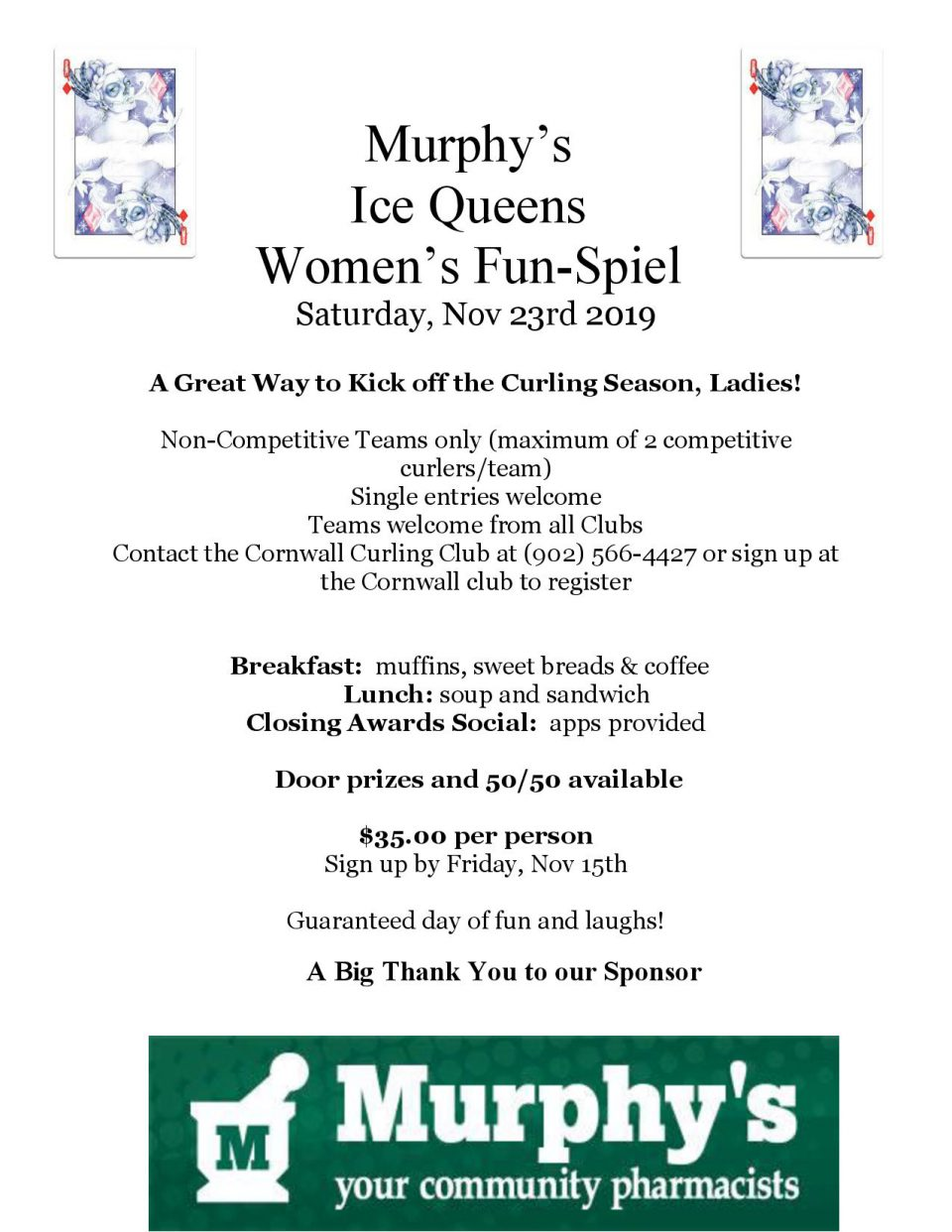 Murphy's Ice Queens Women's Funspiel @ Cornwall Curling Club