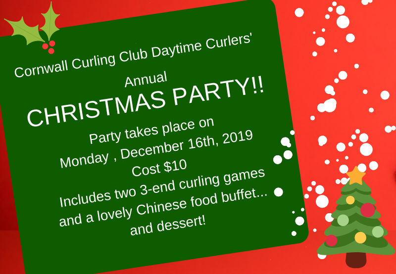 REVISED Draw schedule for Daytime Curlers' Annual Christmas Party on Dec. 16